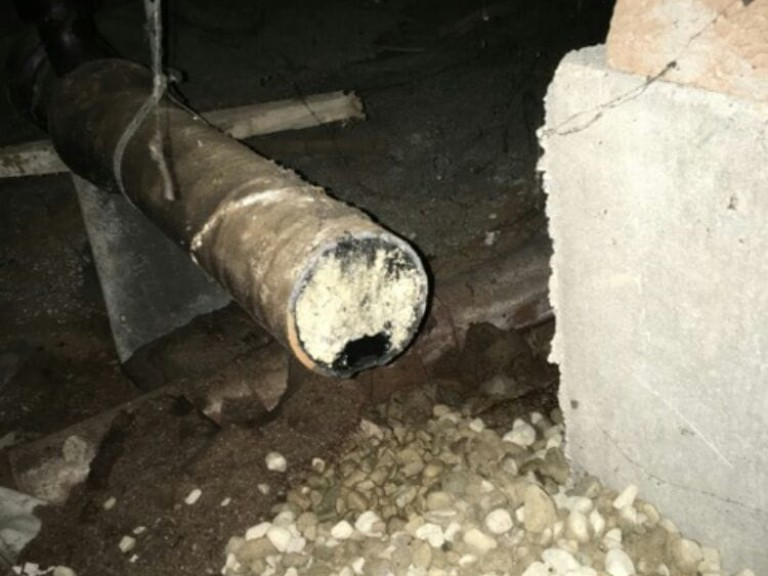 Grease Clogging Sewer Pipe