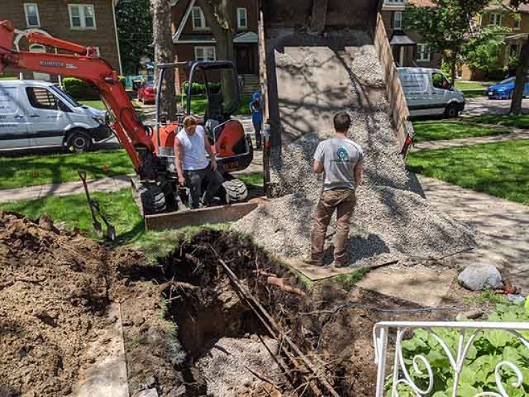 Digging for sewer replacement